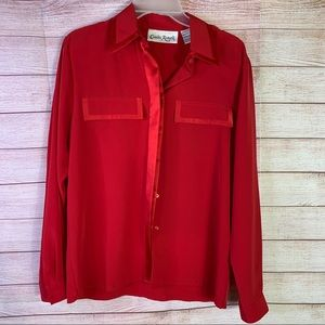 Claudia Richards Red Career Long Sleeves Blouse 10
